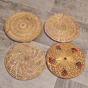 Bundle of 4 Woven Boho Wall Art or Trivets